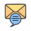 attention, comment, conversation, envelope, message, message-attention, talk icon