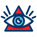 all, egypt, eye, pyramid, seeing, vision icon