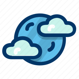 cloudy, forecast, moon, night, weather icon