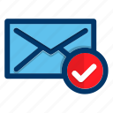 confirm, message, chat, communication, envelope, mail