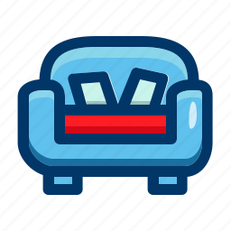 couch, furnishings, furniture, interior, seat, sofa icon