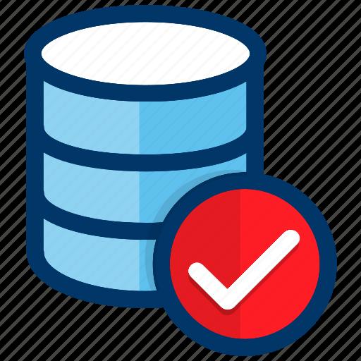 confirm, data, database, network, server, storage icon