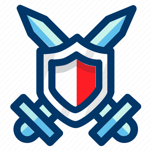 crossed, guard, protection, safety, shield, swords icon