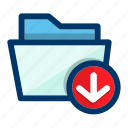 arrow, document, down, download, file, files, folder icon