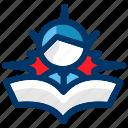 illuminated, reader, student, business, education, learning