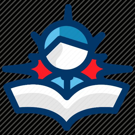 business, education, illuminated, learning, reader, student icon