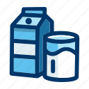 beverage, carton, drink, glass, milk icon