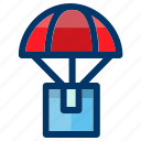 airdrop, delivery, drop, package, shipping icon