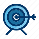 aim, arrow, bullseye, business, marketing, target icon