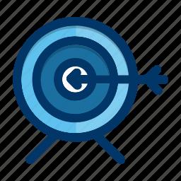 aim, arrow, bullseye, business, marketing, target icon