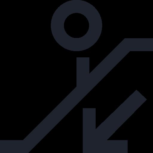 arrow, down, escalator, man, person, public, sign, stairs icon