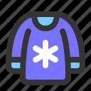 autumn, clothes, clothing, snowflakes, sweater, winter icon