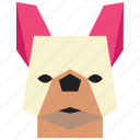 animal, cartoon, dog, dog face, french bulldog, french bulldog face icon