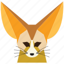 animal, cartoon, fennec fox, fennec fox face, fox, fox face, wild icon