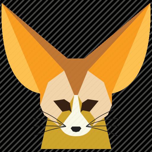 animal, cartoon, fennec fox, fennec fox face, fox, fox face, wild icon