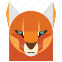 animal, animal face, cartoon, cat, cat face, golden cat, wild icon