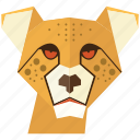 animal, cartoon, cheetah, leon face, tiger, tiger face, wild icon