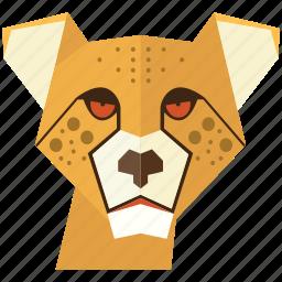 animal, cartoon, cheetah, leon face, tiger, tiger face, wild icon