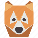 animal, animal face, cartoon, fox, fox face, wild icon