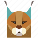 animal, animal face, bobcat, caracal, cartoon, cat, feline icon