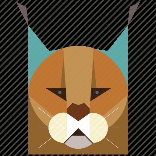 animal, animal face, bobcat, caracal, cartoon, cat, feline icon