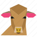 agriculture, animal, animal face, cartoon, cow, cow face, milk icon