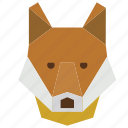 animal, animal face, cartoon, fox, fox face, fox head icon