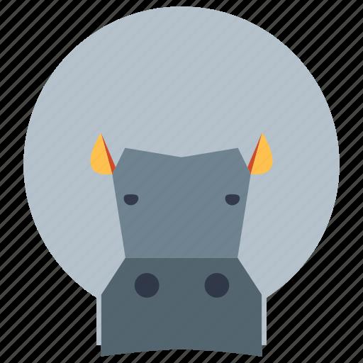 animal, cartoon, head hippo, hippo, hippo face icon