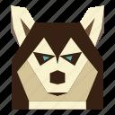 animal, animal face, cartoon, husky, husky face icon