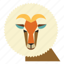 animal, cartoon, goat, goat face, ram, ram animal, ram face icon