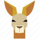 animal, animal face, cartoon, jumping, kangaroo, kangoroo face icon