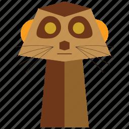 animal, carnivorous, cartoon, meercat, meercat face, suricata, sylvan icon