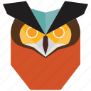 animal, animal face, bird, cartoon, halloween, owl, owl face icon