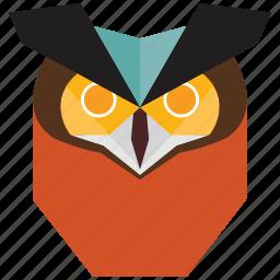 animal, animal face, bird, cartoon, halloween, owl, owl face icon
