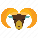 animal, cartoon, goat, ram animal, ram face icon
