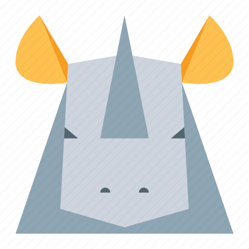 animal, animal face, cartoon, rhino, rhino face, rhinoceros icon