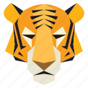 animal, cartoon, cartoon face, jungle, tiger, tiger face, wild icon