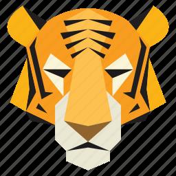 animal, cartoon, cartoon face, jungle, tiger, tiger face, wild icon