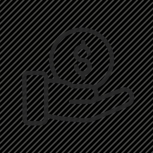 bank, coin, ebitda, hand, income, profit, shop icon