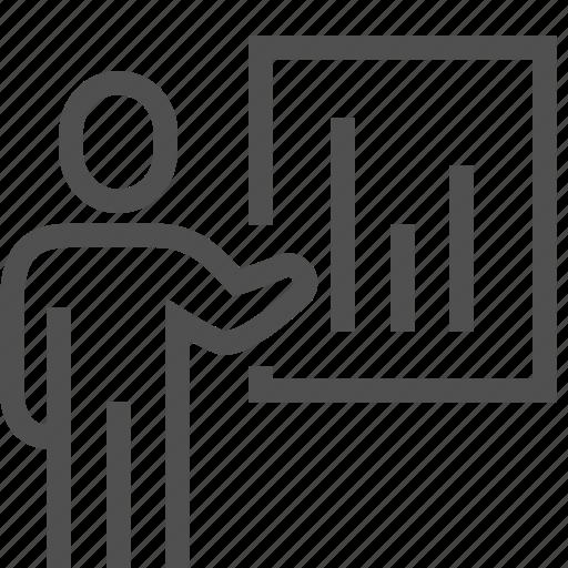 diagram, man, presentation, report, resume, speaker, speech icon