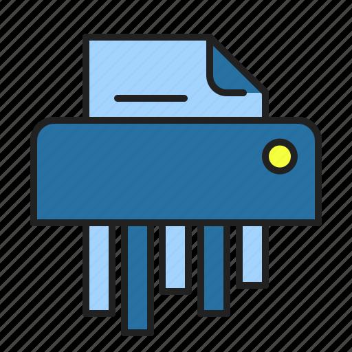 Cut paper, destroy, document, file, office, shredder icon