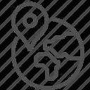 earth, globe, gps, location, navigation, pin, world icon