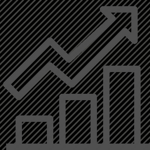 arrow, bar, chart, diagram, graph, growth, rise icon