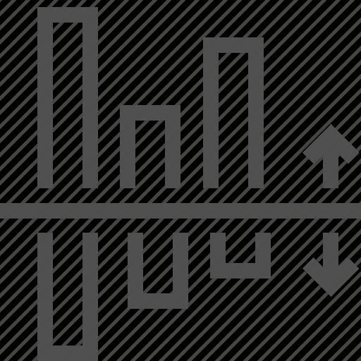 bar, chart, comparison, graph, infographic, loss, rise icon