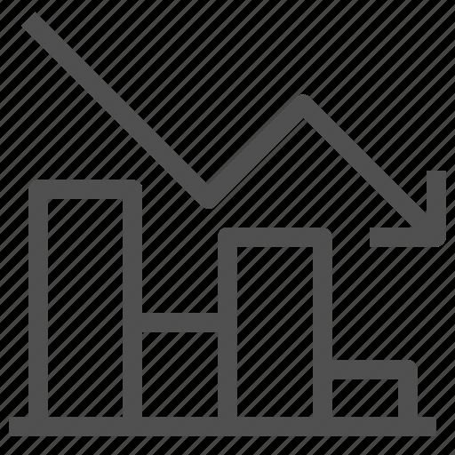 arrow, bar, chart, decrease, diagram, graph, loss icon