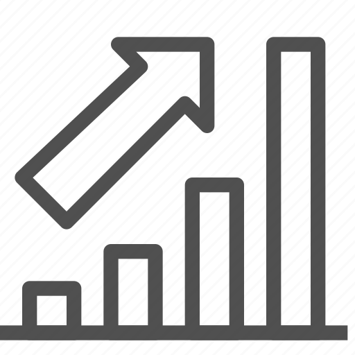 arrow, bar, chart, growth, increase, trend, up icon
