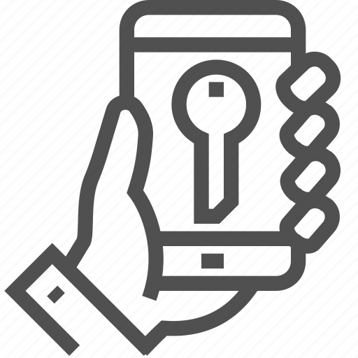 electronic, hand, key, mobile, opener, phone, protection icon