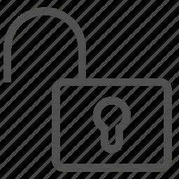guard, keyhole, lock, open, padlock, safe, unlock icon