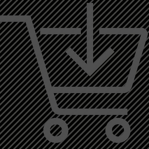 add, arrow, bag, buy, cart, ecommerce, insert icon
