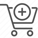 add, bag, buy, cart, ecommerce, plus, shopping icon